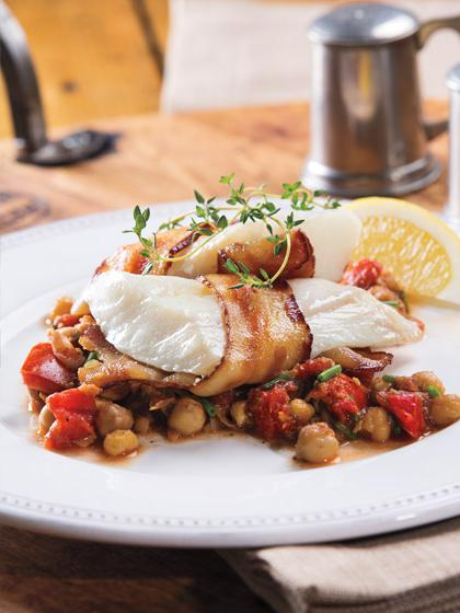 Bacon-Wrapped-Cod-over-Chickpea-Saute